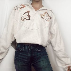VTG Embroidered Leaves Fall Cream Quarter-Zip